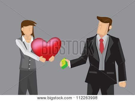 Exchange Money For Love Vector Illustration