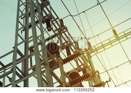 Electric transformer station.