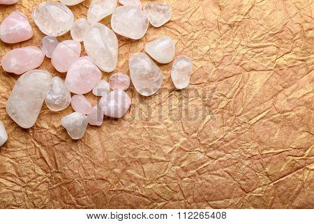 Semiprecious stones on craft paper background