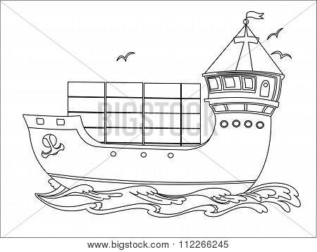 Black-and-white cargo ship