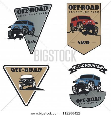 Set Of Classic Off-road Suv Car Emblems, Badges And Icons. Rock Crawler Car, Off-road Suv Adventure