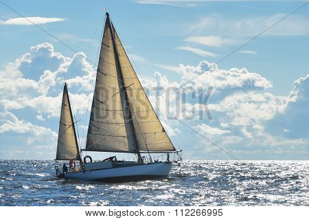 Yacht Sailing On A Sunny Day In Riga Bay