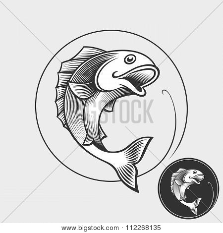 Fishing sign template - Vector Illustration.