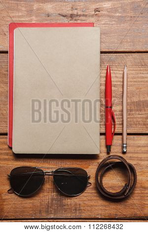 Men's accessories on the wooden table