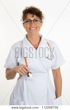 Portrait Of Female Doctor With Glasses, Stethoscope And Lab Coat. Young Doctor Holding Stethoscope A