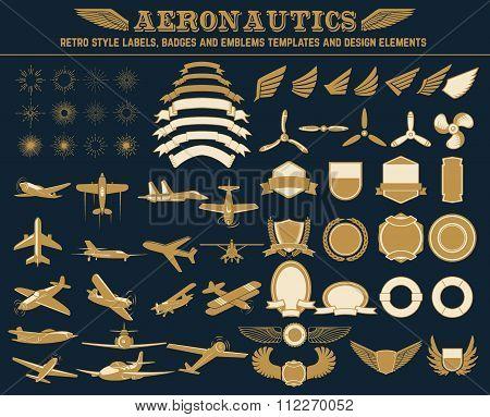 Aeronautics retro style labels
