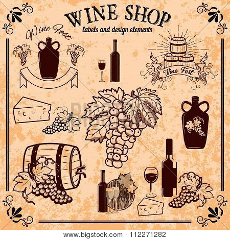 Wine Shop Labels And Design Elements