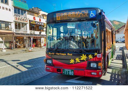 Nikko Japan - November 16 2015: Nikko World Heritage Bus serves between Tobu Nikko station and all world heritage sites in circular direction
