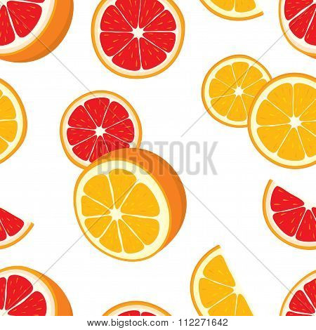 Vector seamless background of orange and grapefruit slices.