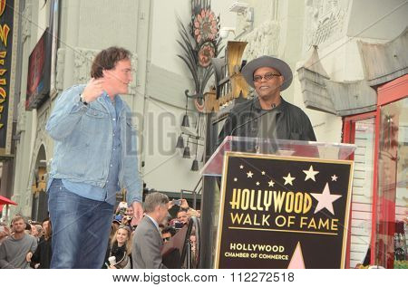 LOS ANGELES - DEC 21:  Quentin Tarantino, Samuel L. Jackson at the Quentin Tarantino Hollywood Walk of Fame Star Ceremony at the Hollywood Blvd on December 21, 2015 in Los Angeles, CA