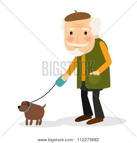 Old man walking with dog