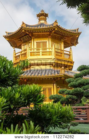 Beautiful Golden Pagoda Chinese Style Architecture In Nan Lian Garden, Hong Kong