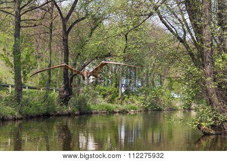 Flying dinosaur on the river Kamienna in Baltow, Poland