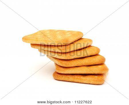 Stack of cracker on white background