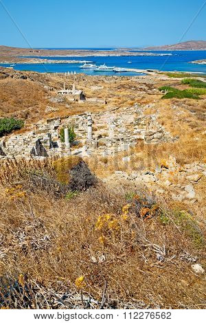 Sea In Delos Greece The Historycal Acropolis And Old Ruin