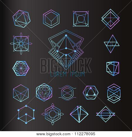 Sacred geometry forms shapes of lines logo sign symbol