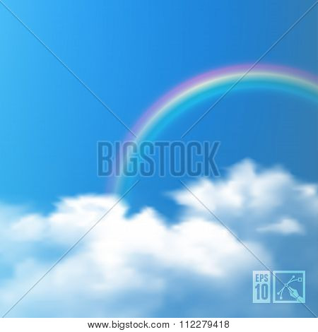 Sky Background With Rainbow And Clouds. Vector Illustration, Eps10, Editable.