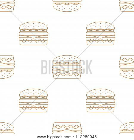 Double Hamburger Outline Seamless Pattern.
