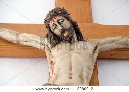 LIPIK, CROATIA - MAY 07: Crucifixion, Jesus died on the cross Church of Saint Francis of Assisi in Lipik, Croatia on May 07, 2015