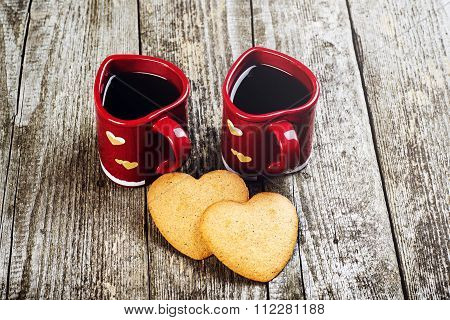 Valentines Day Composition. Coffee Cups And Hearts.