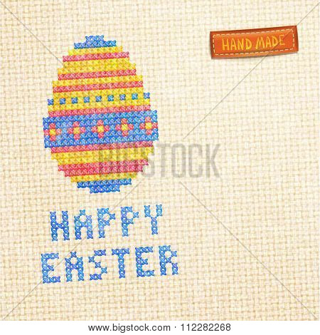Easter Egg Cross-stitched Background.