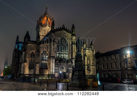 St Giles Cathedral At Night In Edinburgh