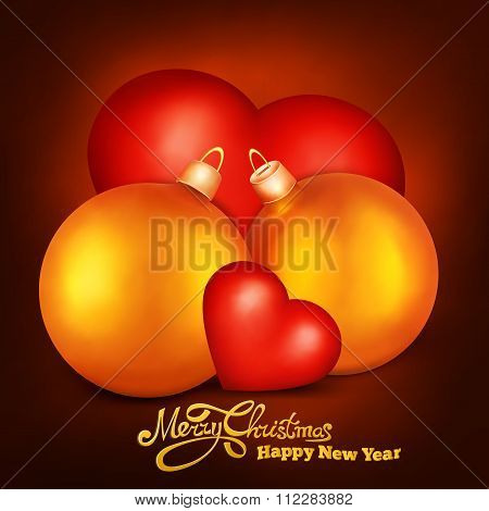 Two Realistic Golden Christmas Spheres With Two Hearts