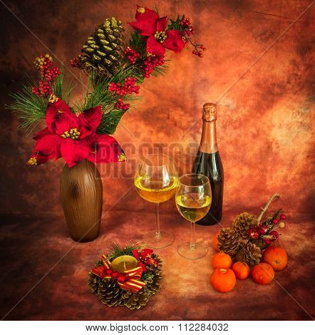 Christmas Still Life With  Ornaments, Champagne, Tangerines