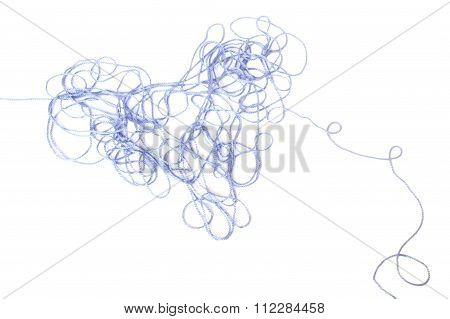 Heart Shaped Entangled Blue Threads Isolated