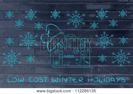 Luggage With Santa Hat And Snowflakes, With Text Low Cost Winter Holidays