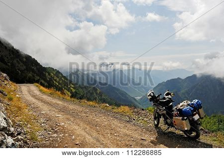 Adventure Motorcycle On A Dirt Road In Northern Albania