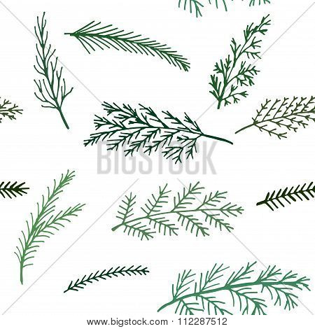 seamless New Year pattern  background spruce twigs on a white background