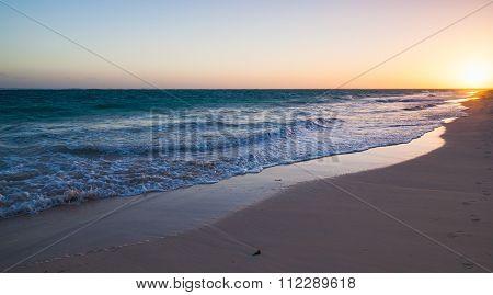 Colorful Sunrise On Atlantic Ocean Coast, Beach