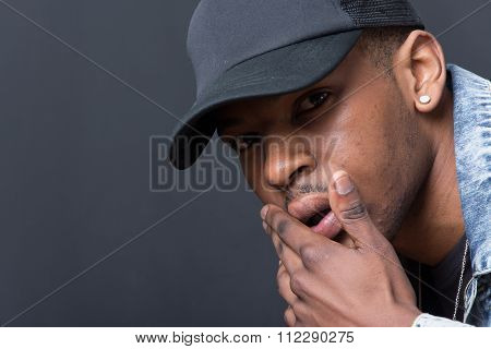 Portrait Of Hip Hop African American Dancer Isolated Background