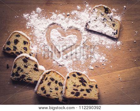 Stollen Cake And Sugar Powder Heart
