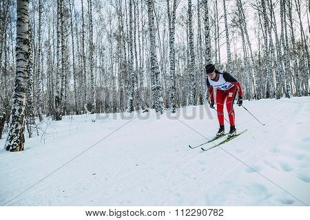 girl athlete skier rides on track in woods classic style