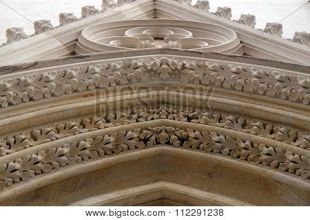 ZAGREB, CROATIA - FEBRUARY 21: West portal of the church of St. Mark in Zagreb, Croatia on February 21, 2015