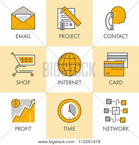 Linear And Flat Business Icons For Web. Project, Contact, Shop, Internet, Profit, Network