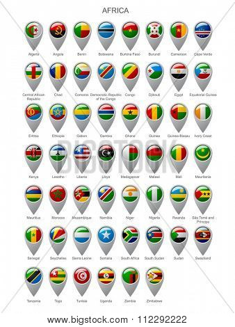 Map marker set with state flags of sovereign countries of Africa with captions in alphabet order.  Vector illustration