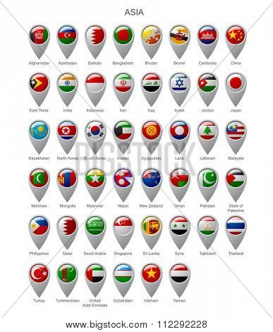 Map marker set with state flags of sovereign countries of Asia with captions in alphabet order.  Vector illustration
