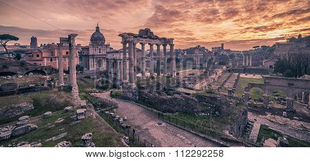 Rome, Italy: The Roman Forum in the beautiful sunrise