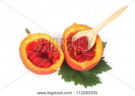 Gac Fruit, Baby Jackfruit, Spiny Bitter Gourd, Sweet Grourd Or Cochinchin Gourd Isolated