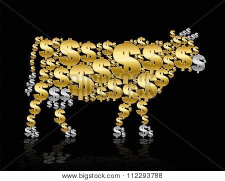Golden Calf Cash Cow Dollar Symbols