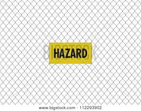 Hazard Sign Seamless Tileable Steel Chain Link Fence