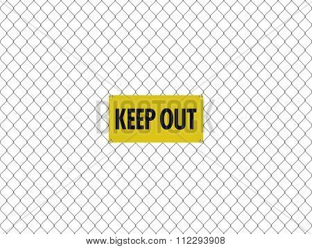 Keep Out Sign Seamless Tileable Steel Chain Link Fence