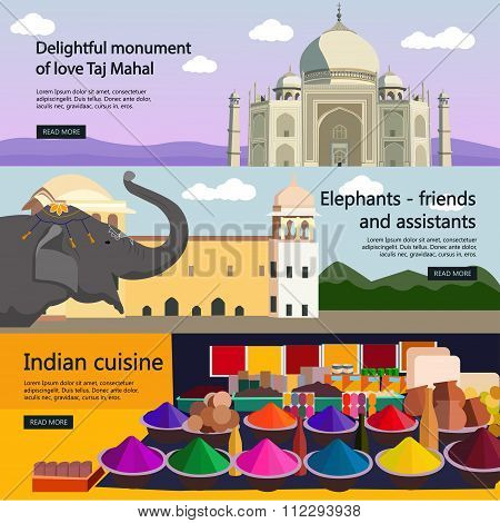Travel to India banner vector set. Indian culture, tourist attractions, landmarks. Taj Mahal palace