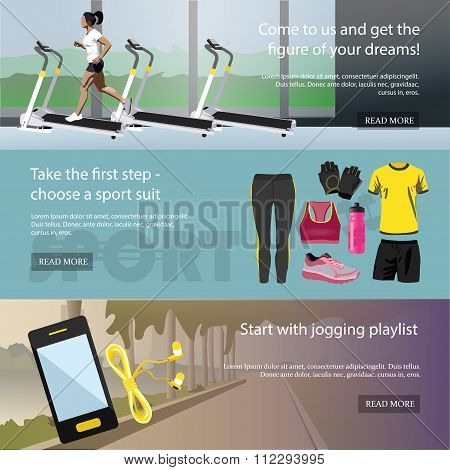 Fitness horizontal banners set. Sport equipment and accessories. Training vector illustration. Femal