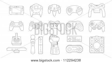 Video Game Controllers Icon Set