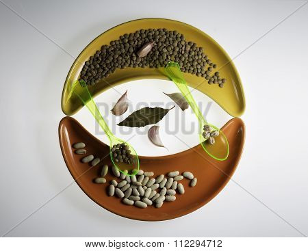 Variety Of Legumes And Two Spoons On Cereamic