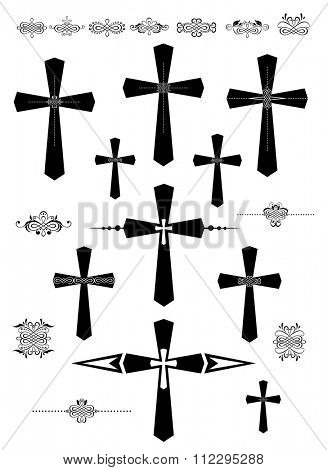 Set of decorative catholic cross and design elements